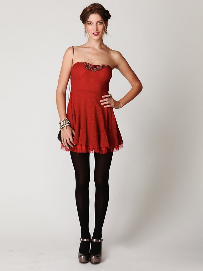 662049f379b8 Free People Scallop Strapless Dress in Red - Lyst