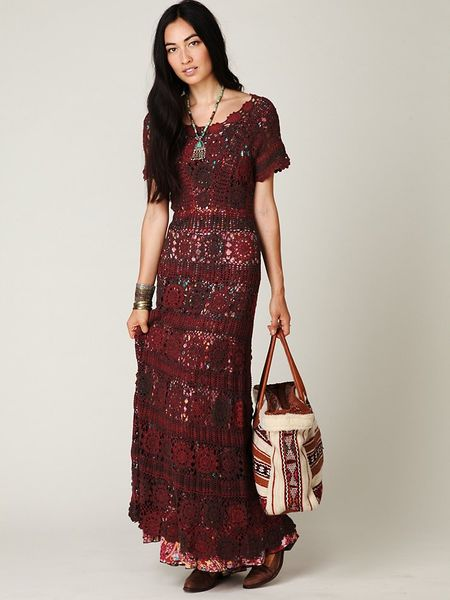 Free People Hand Crochet Maxi Dress in Brown (rust) Lyst