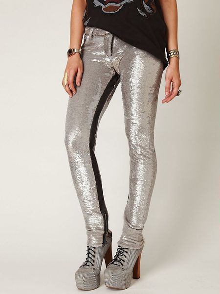 Free People Distressed Sequin Pants in Silver (silver ...