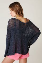 Free People Tape Yarn Beach Sweater in Blue (washed blue) - Lyst