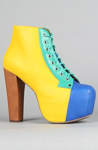 Jeffrey Campbell The Lita Shoe in Yellow and Blue Color Block - Lyst