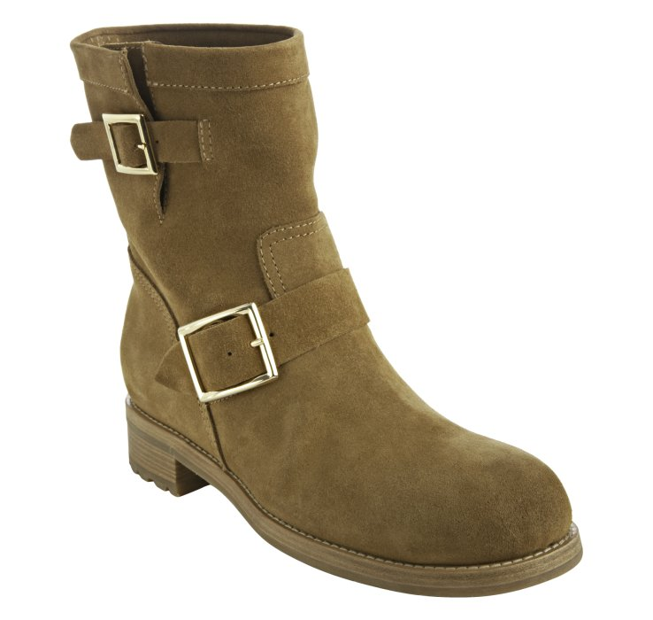 jimmy choo whiskey suede youth biker boots in brown