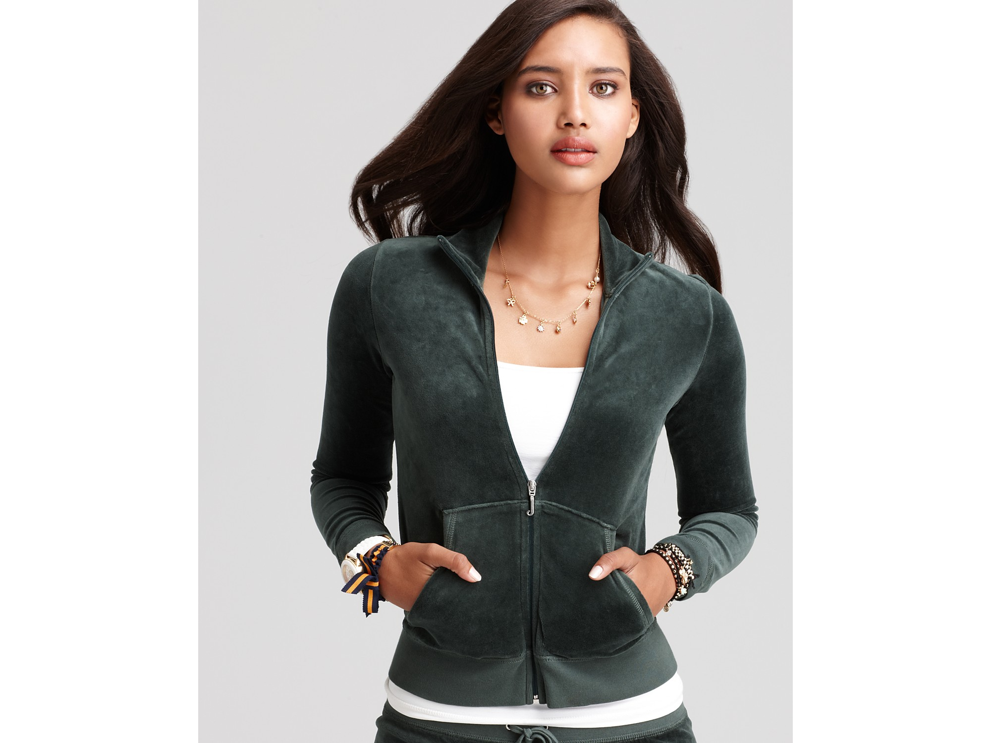 Juicy Couture Velour Track Jacket In Green Lyst