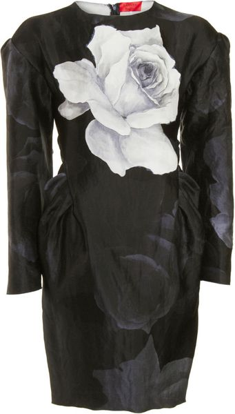 Lanvin Peplum Dress in Gray (floral) - Lyst