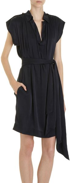 Lanvin Belted Polo Dress in Blue (midnight) - Lyst