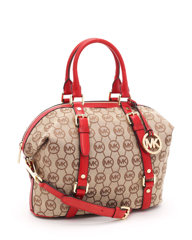 ff548ba2aeade ... switzerland lyst michael kors medium bedford monogram satchel beige red  in brown 57645 c8030