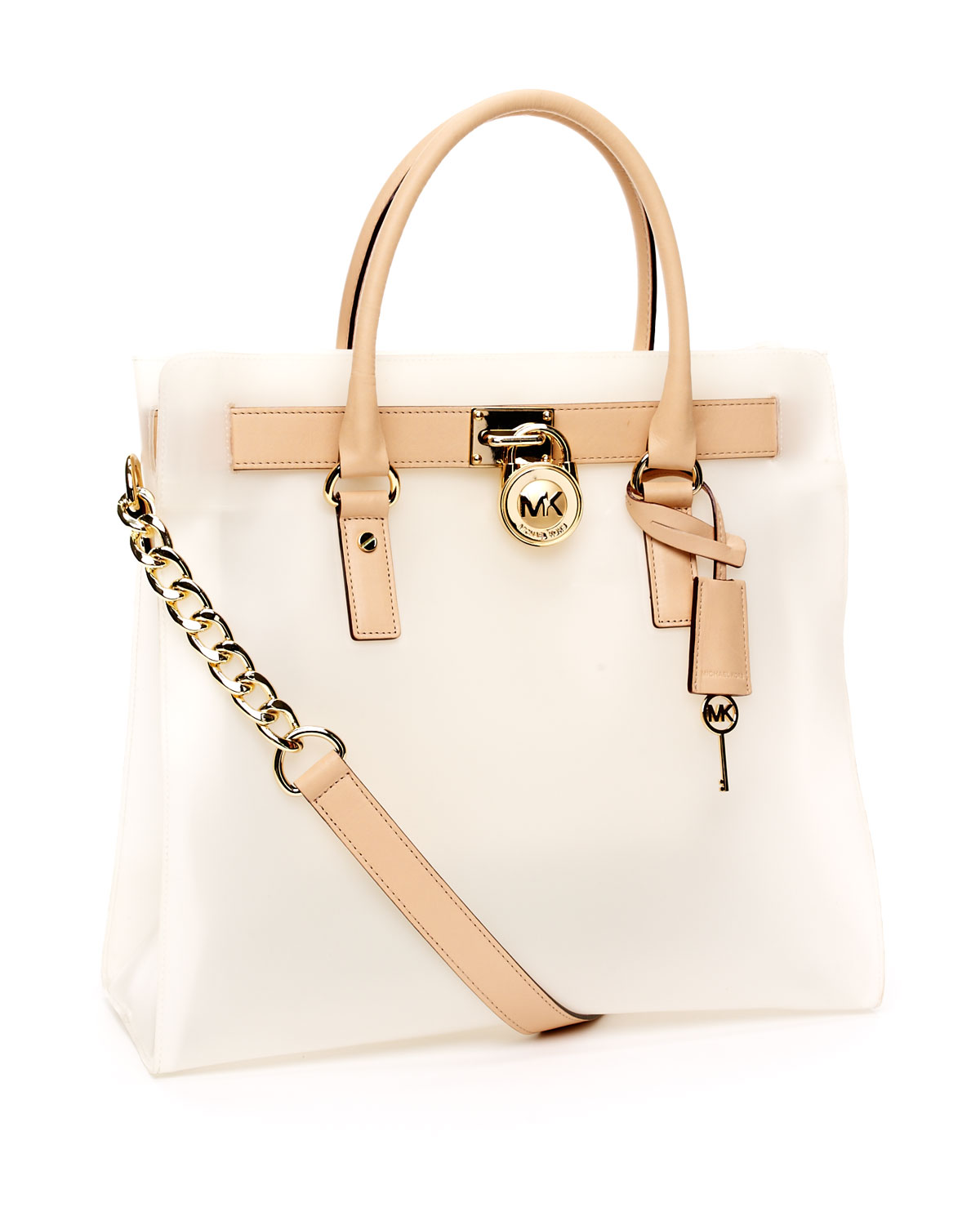 54e4344bf3 Michael Kors Large Hamilton Frosted Jelly Tote, Frosted Clear in ...
