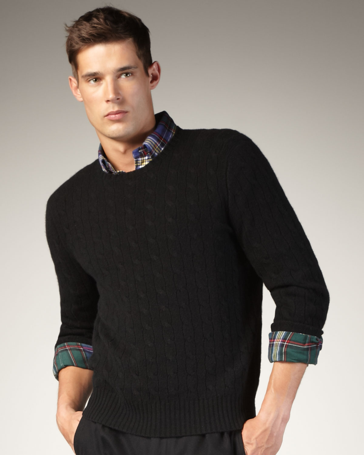 Lyst Polo Ralph Lauren Cable Knit Cashmere Sweater In Black For Men