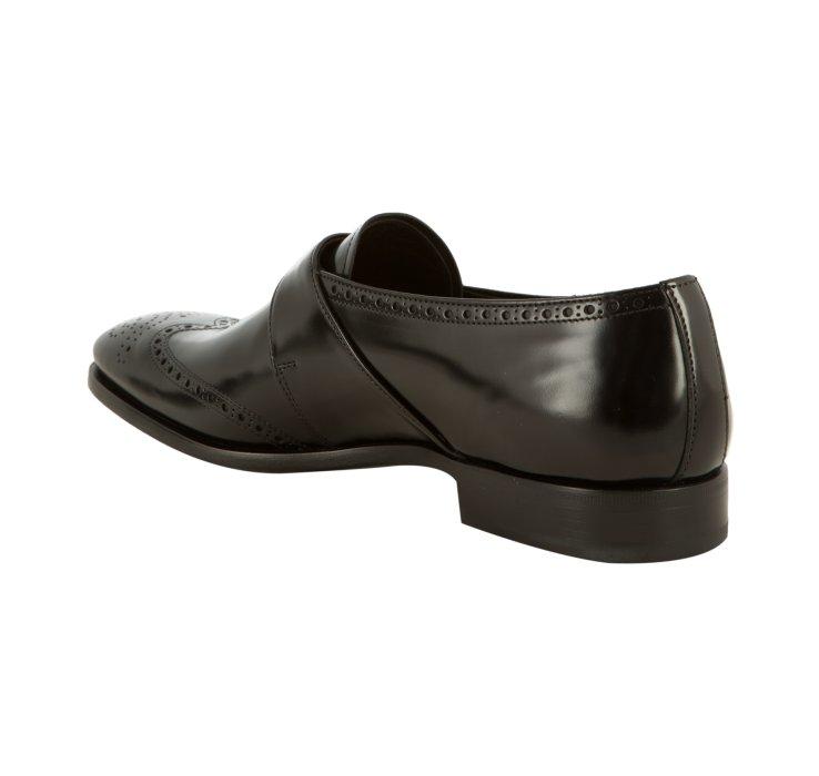 0dd78794fa16 ... get lyst prada black leather wingtip buckle strap loafers in black for  men 8454e 6de1a