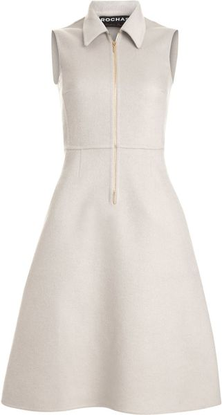 Rochas Zip Front Dress in White (beige) - Lyst