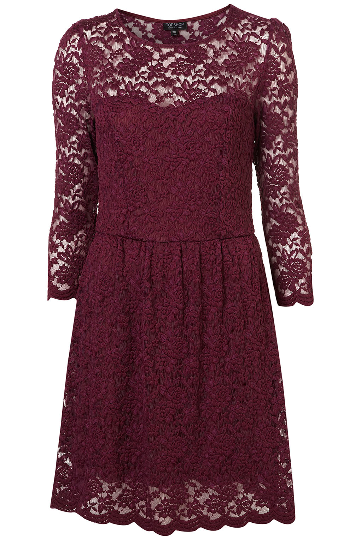 Lyst Topshop Sweetheart Lace Flippy Dress In Purple