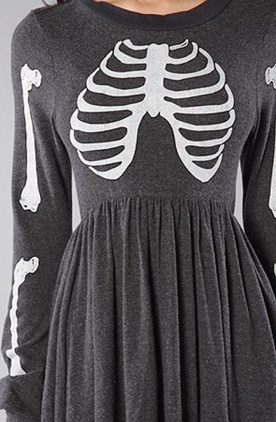 Wildfox The Skeleton London Baby Doll Dress In Dirty Black