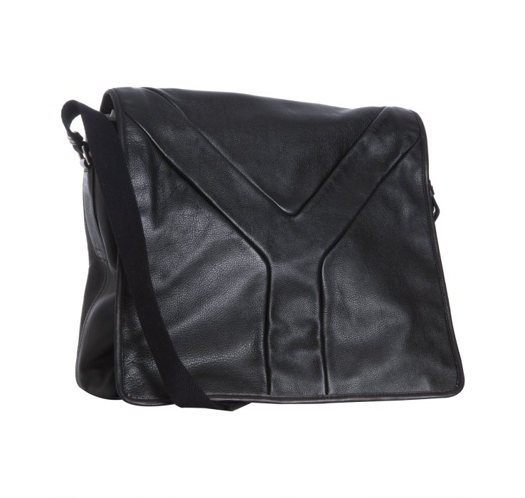 Saint laurent Black Leather Hamptons Messenger Bag in Black for ...