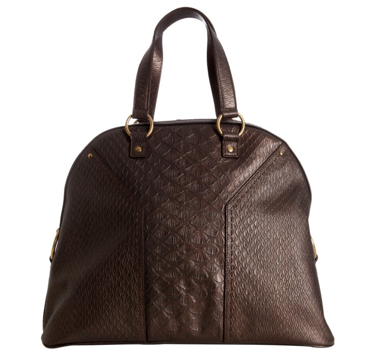 Saint laurent Moro Snake Embossed Leather Muse Tote in Brown | Lyst