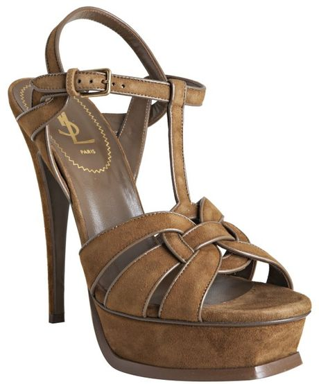 Yves Saint Laurent Tobacco Suede Tribute 105 Platform Sandals in Brown (tobacco) - Lyst