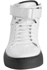 Saint Laurent White Leather Dynasty High Top Sneakers in White for Men - Lyst