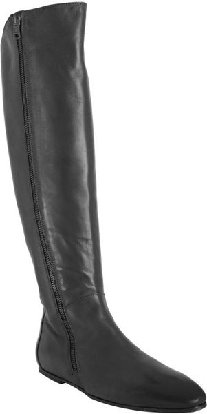 Alberto Fermani Black Leather Flat Tall Boots in Black - Lyst