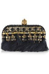 Alexander Mcqueen Punk Embellished Leather Box Clutch in Black - Lyst