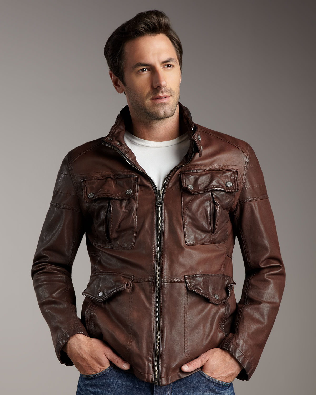 Andrew marc Leather Military Jacket in Brown for Men   Lyst