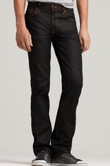 Ash Nudie Jeans Co Slim Jim Jean in Dry Black Coated Wash - Lyst