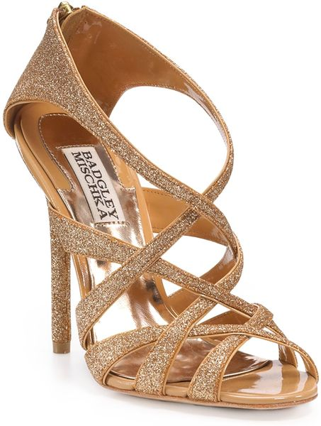 Badgley Mischka Junebug Strappy Sandals in Pink (black glitter) - Lyst