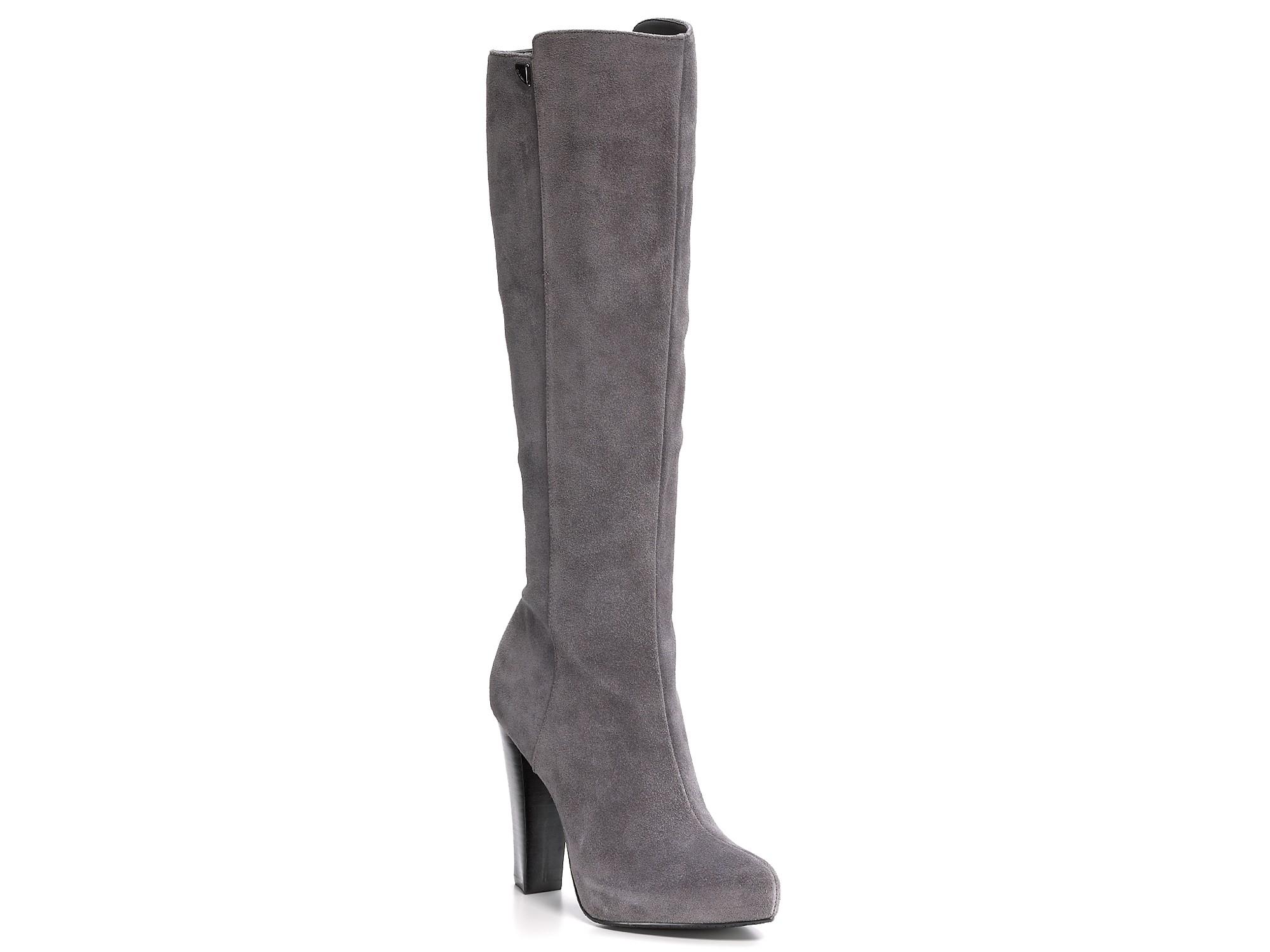 calvin klein eliana boots in gray grey suede lyst