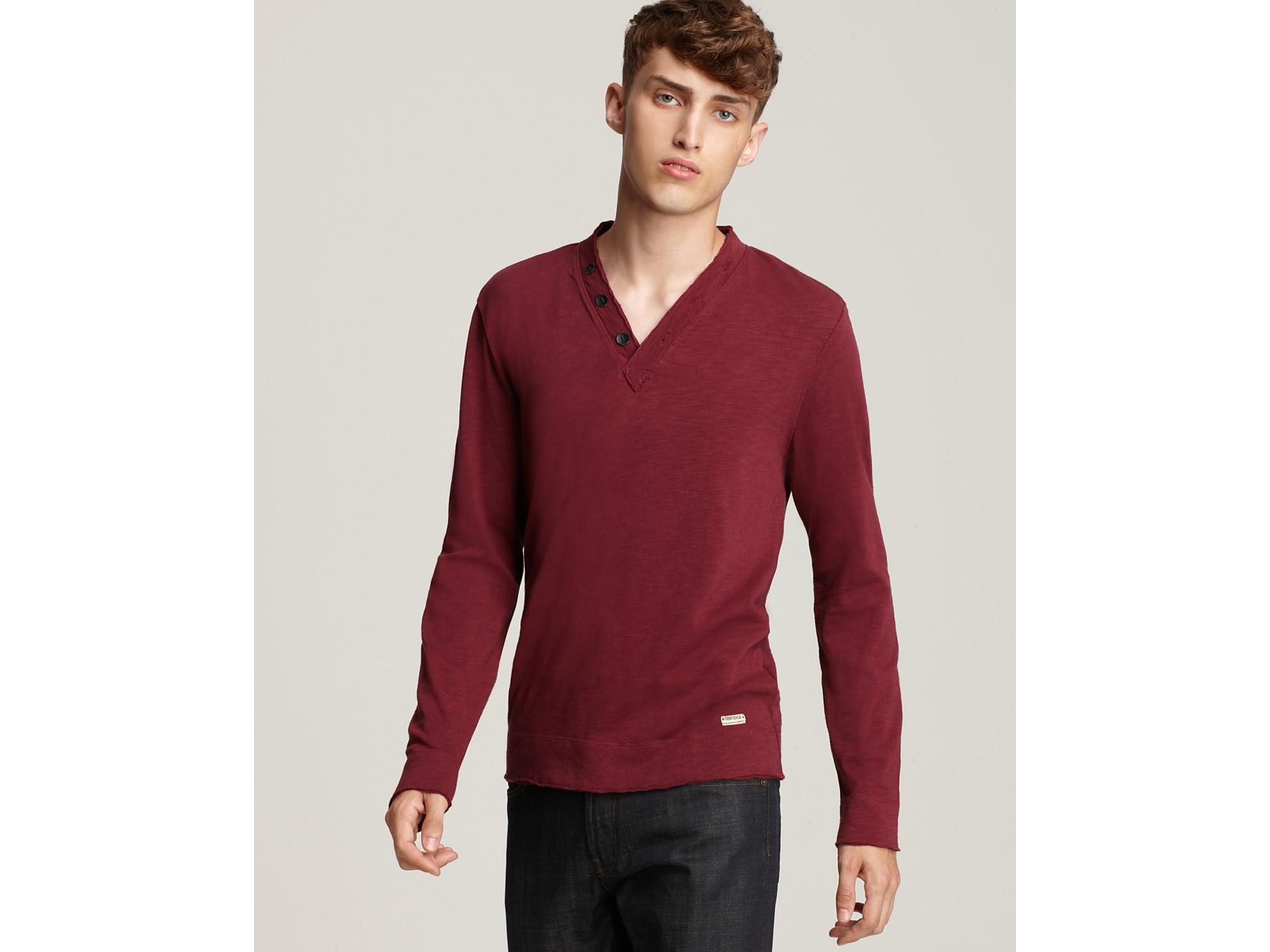 Converse black canvas long sleeve deep v neck henley shirt for Black long sleeve henley shirt