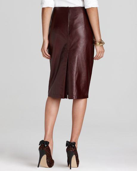 elie tahari julie leather pencil skirt in claret lyst