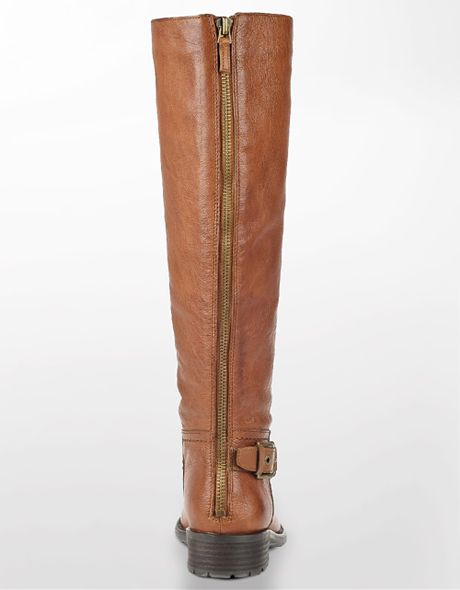 franco sarto profile leather boots in brown cognac