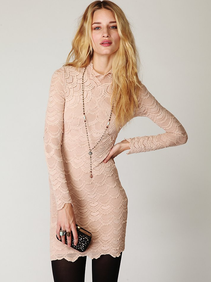 Lyst - Free People High Neck Victorian Lace Dress In Natural-7200