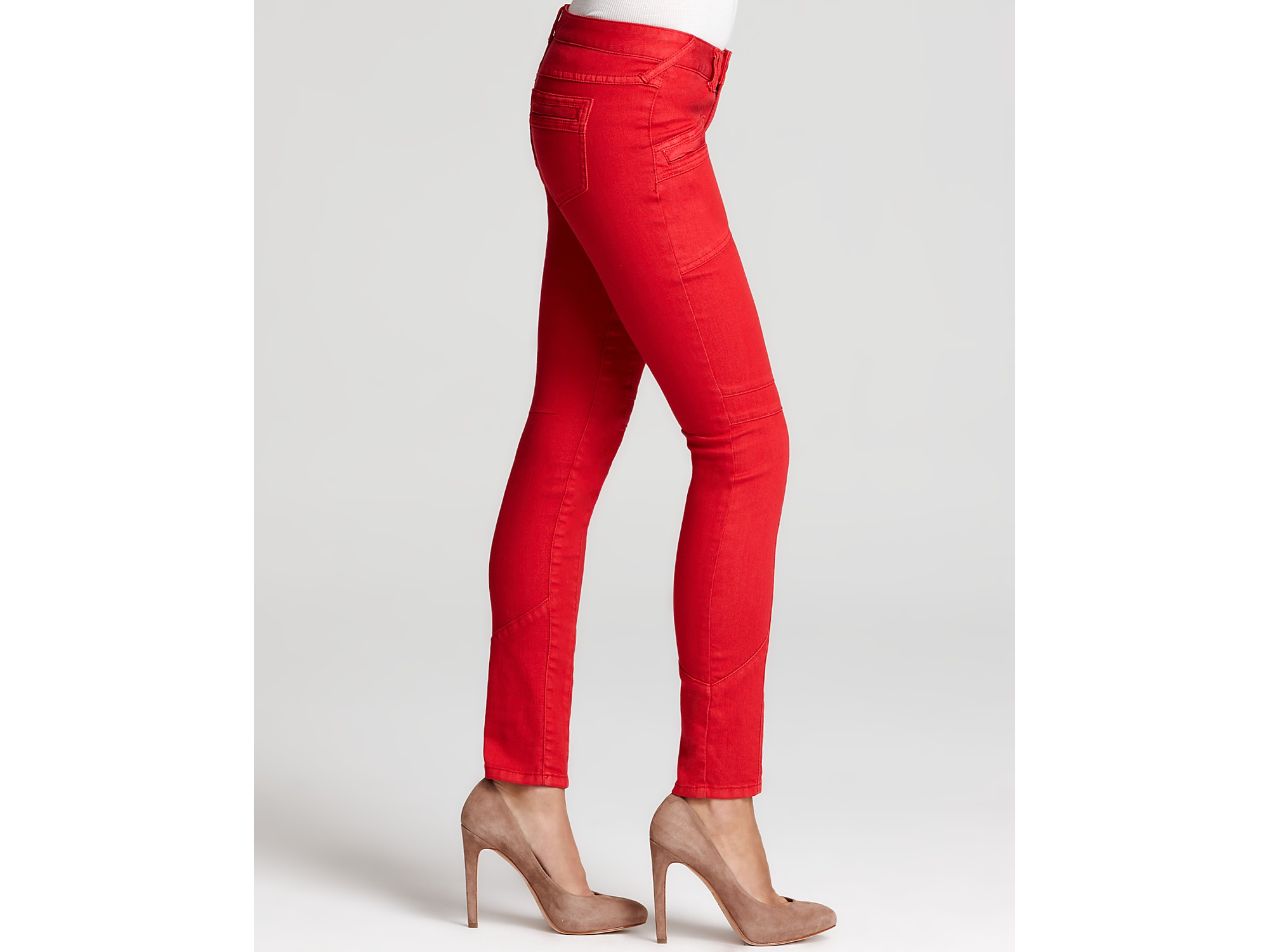 Free people Stretch Utility Jeans in Ruby Red in Red | Lyst