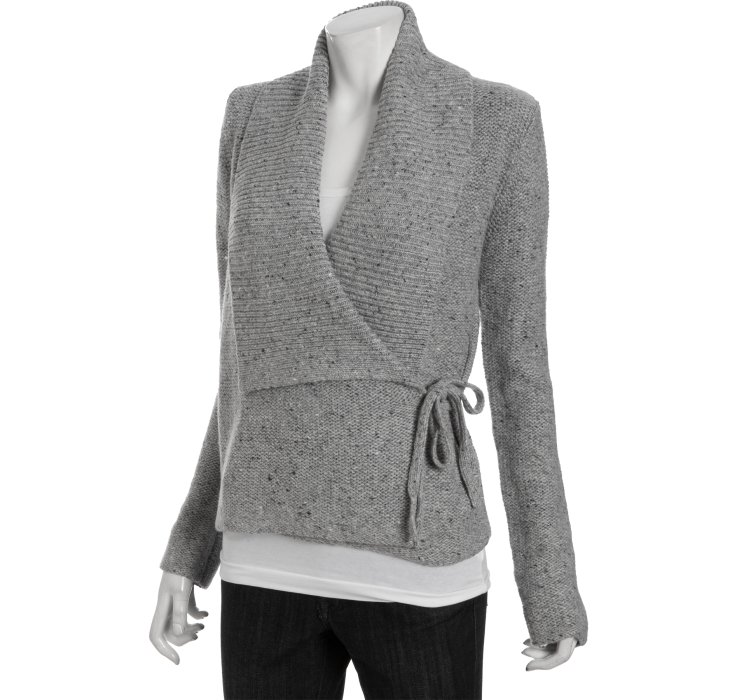 French connection Light Grey Melange Wool Blend Autumn Walk Wrap ...
