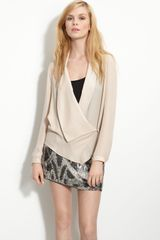 Haute Hippie Draped Lapel Sheer Silk Wrap Blouse - Lyst