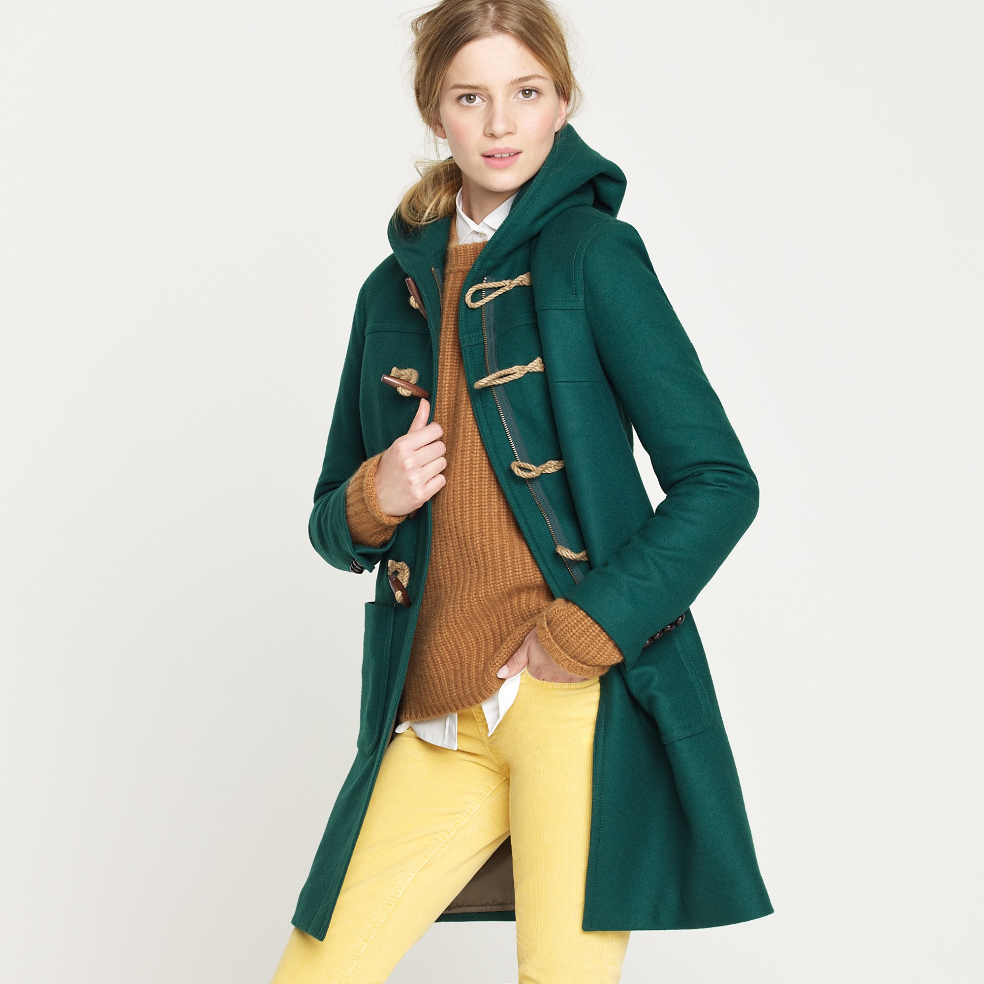 J.crew Toggle Coat in Wool-cashmere with Thinsulate® in Green | Lyst