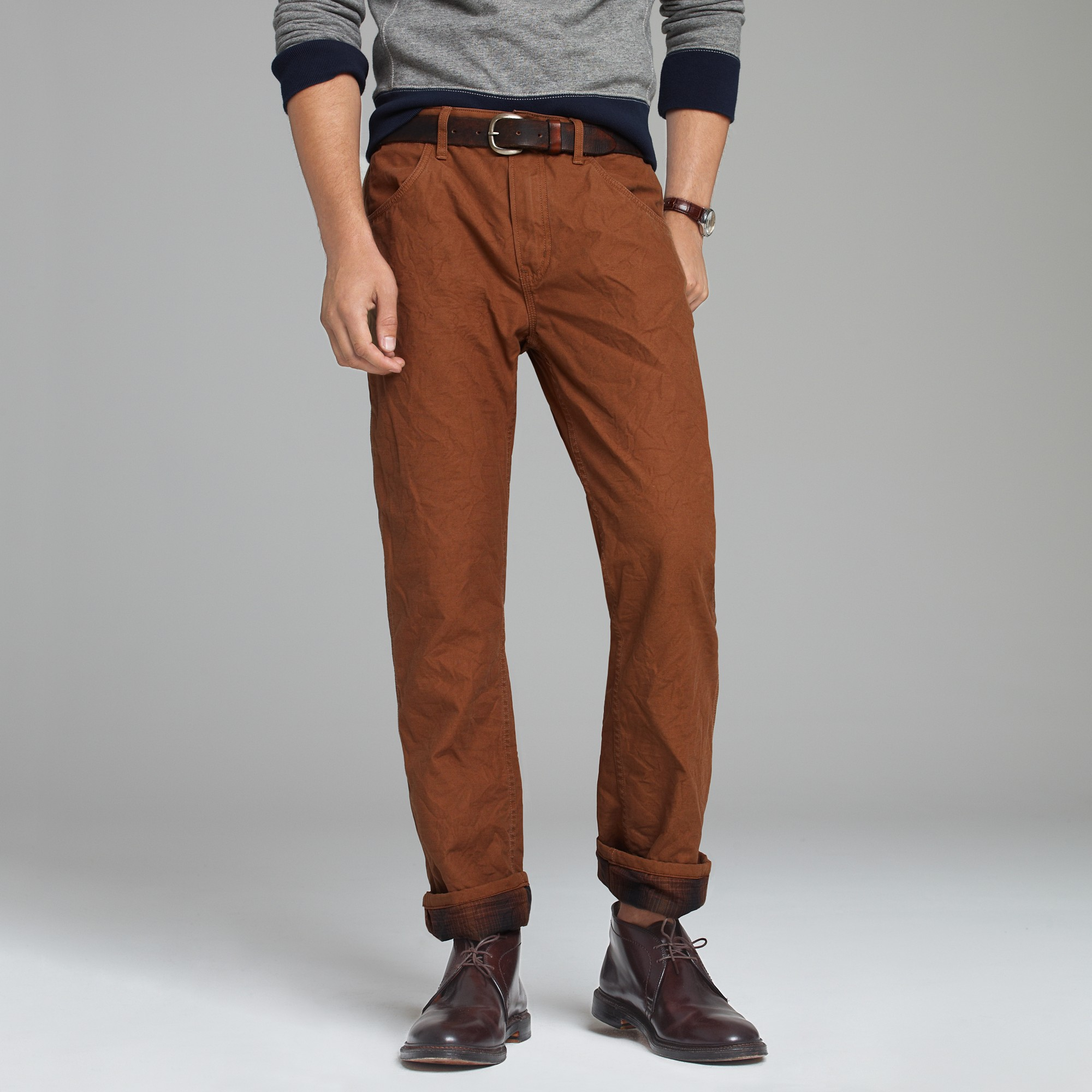 J.crew Flannel-lined Tompkins Pant in Vintage Slim Fit in Brown ...