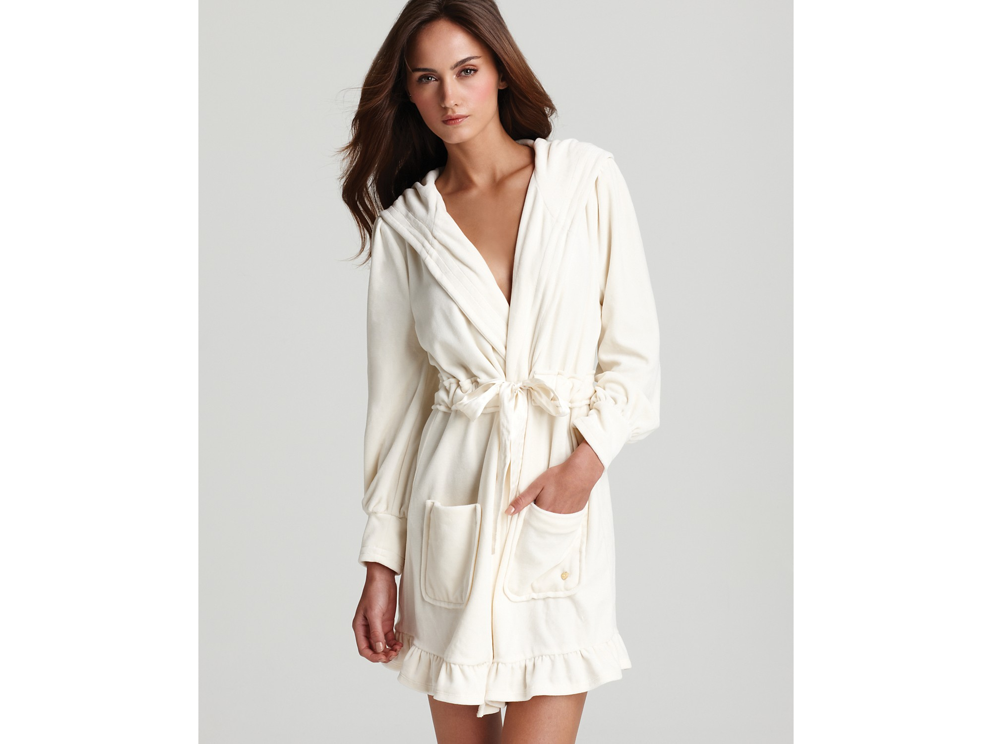 Lyst Juicy Couture Velour Robe With Tie In White