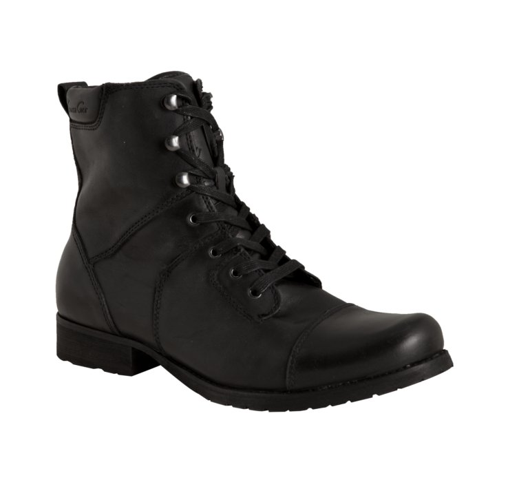 kenneth cole black leather tie land lace up boots in black