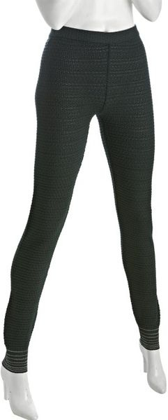 M Missoni Dark Green Textured Wool Blend Knit Stripe Detail Skinny Pants in Green - Lyst