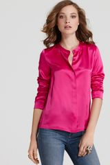 Marc By Marc Jacobs Disco Satin Top in Pink (magenta) - Lyst