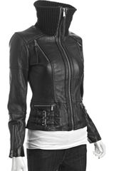 Michael By Michael Kors Black Leather Knit Collar Bomber Jacket in Black - Lyst