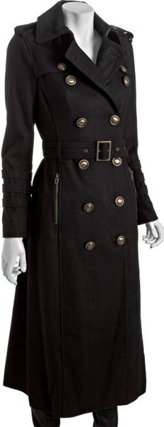 Miss Sixty Black Wool Blend Double Breasted Belted Maxi