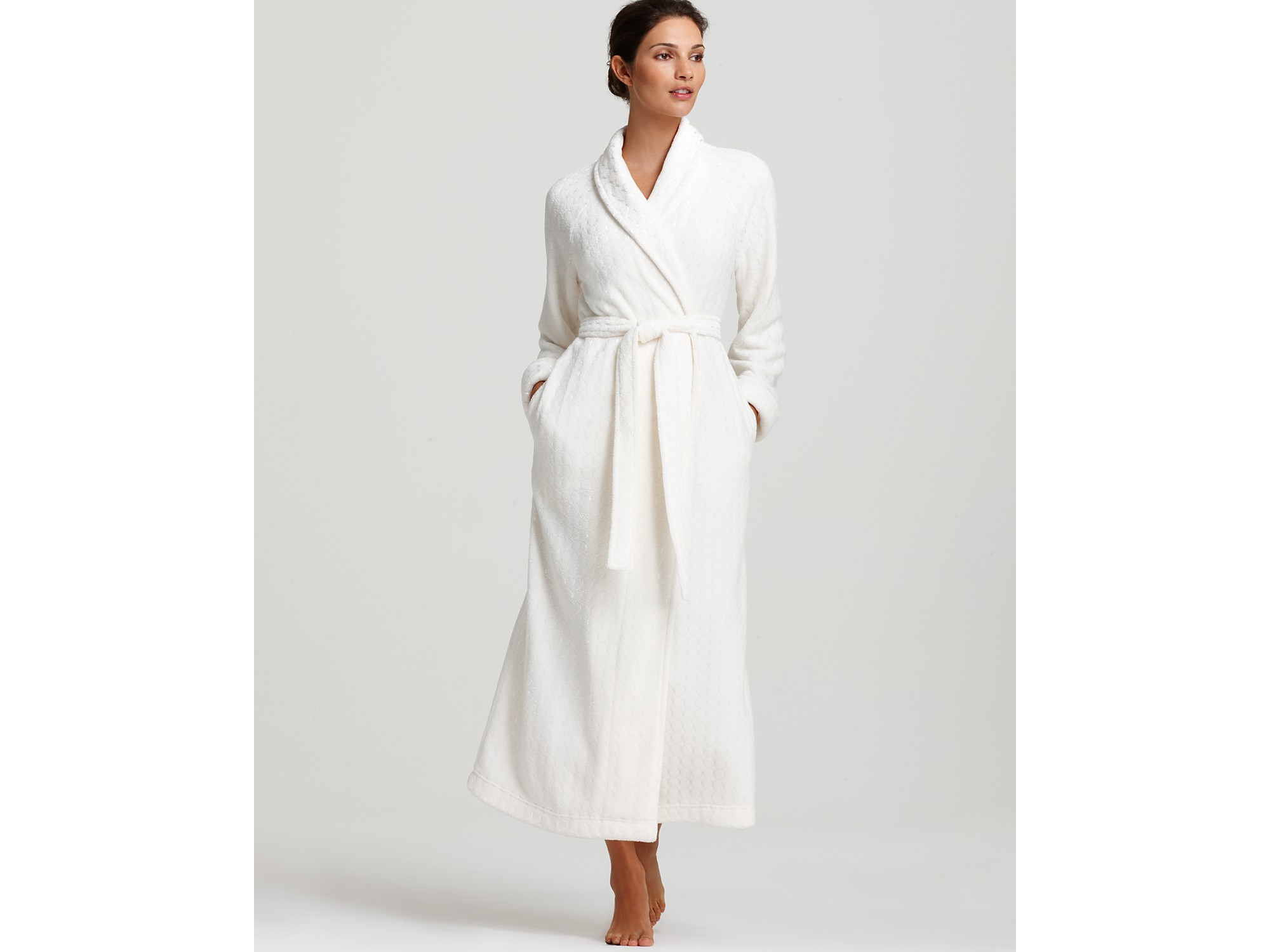 04172ce40f Lyst - Oscar de la Renta Pink Label Cozy Comfort Plush Long Robe in ...
