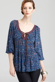 Plenty By Tracy Reese Contrast Yoke Peasant Blouse - Lyst