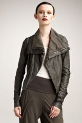 Rick Owens Distressed Leather Jacket, Pearl - Lyst