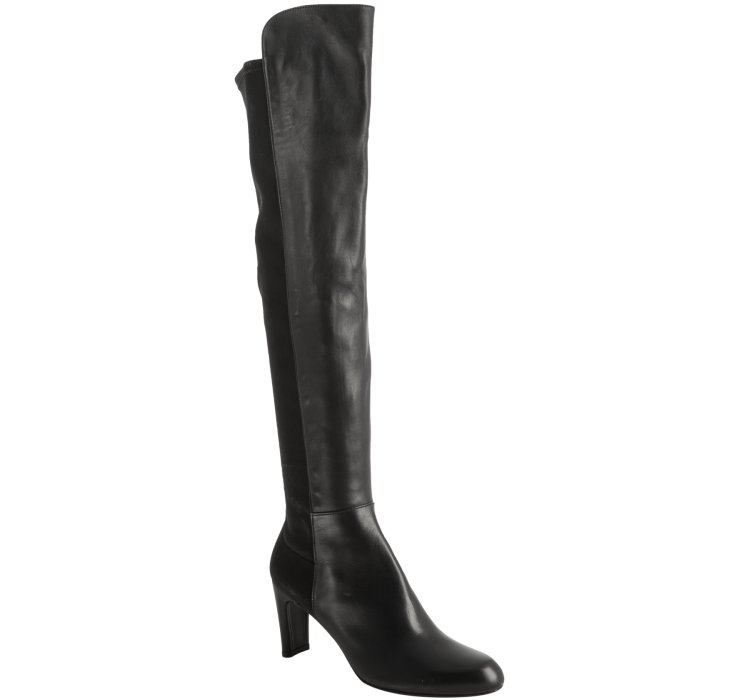 stuart weitzman black leather stretch back knee high boots