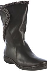 Stuart Weitzman Black Nappa Leather Toggle Fur Lined Boots - Lyst