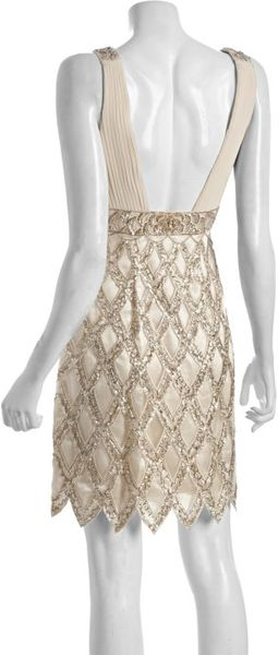 sue wong chagne woven beaded scalloped hem dress in
