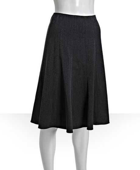 tahari black jersey mara knee length skirt in black lyst