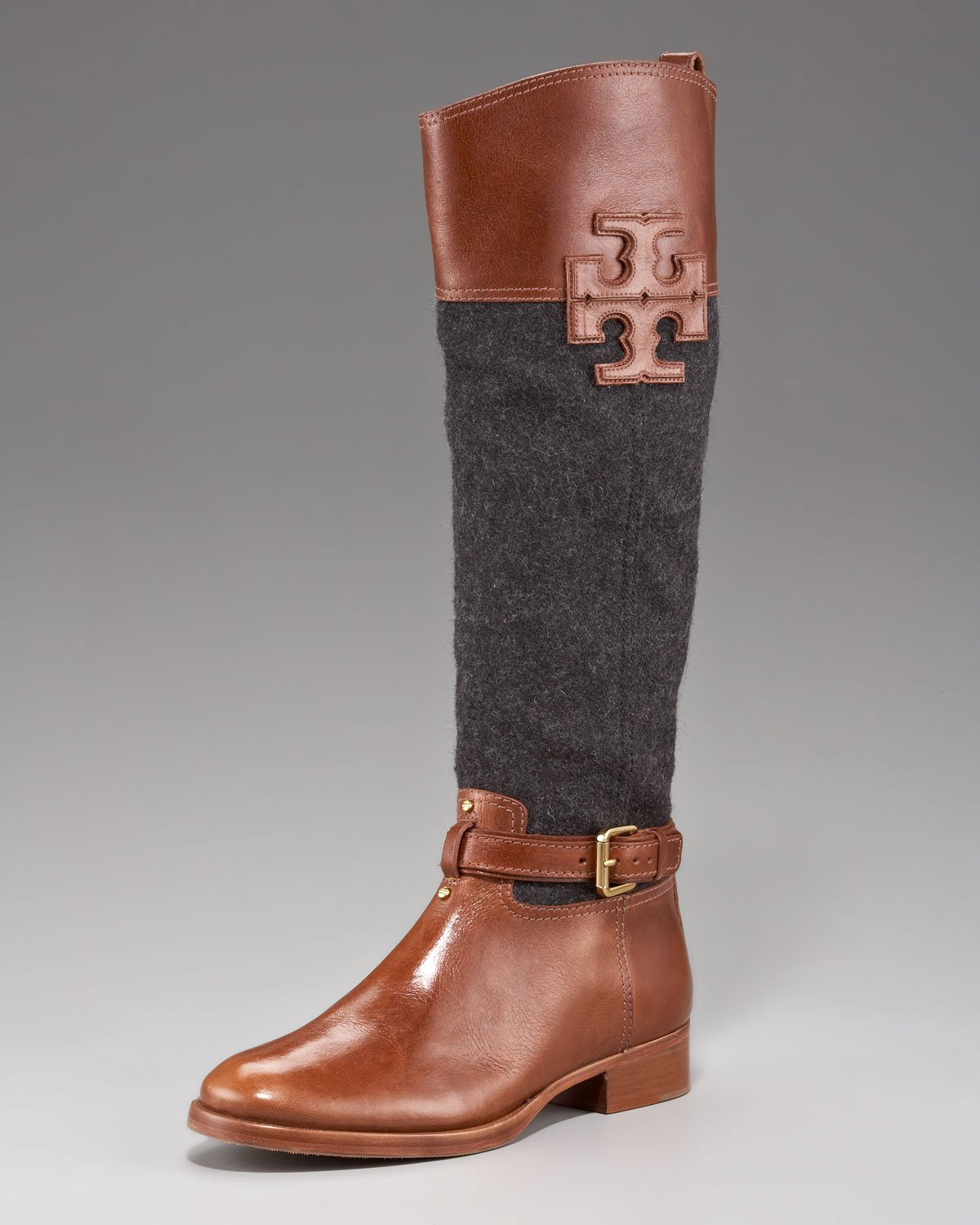 Tory burch Blaire Leather/flannel Riding Boot in Brown | Lyst