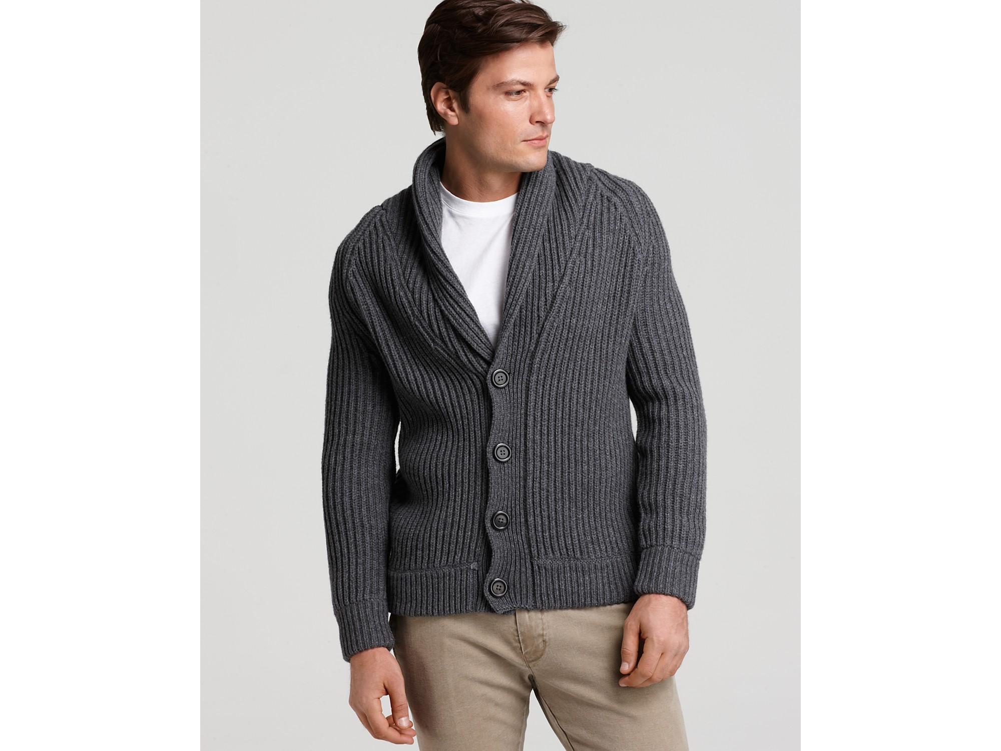 Vince Shawl Collar Cardigan in Gray for Men | Lyst